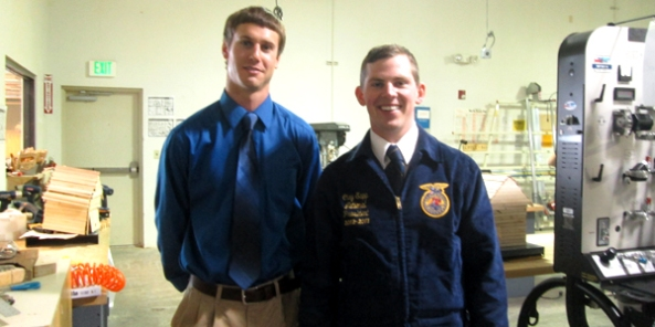 National FFA President Clay Sapp stands with Wells FFA (Nevada) advisor Chance Crain.