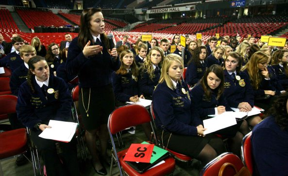 National FFA Delegates during the first Delegate Business Session on Thursday.
