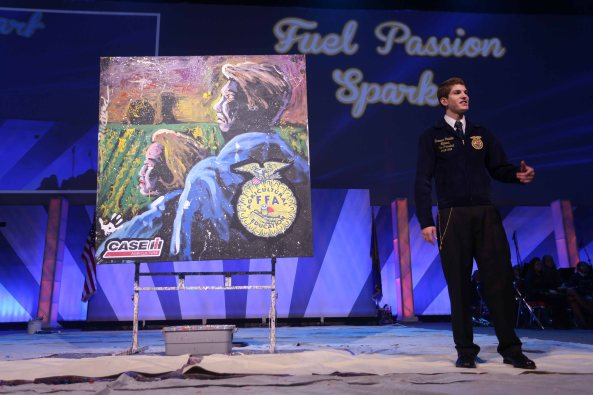 In recognition of the 80-year celebration of the official jacket, Case IH sponsored speed painter Dan Dunn to perform and donate his artwork for FFA monies at the 86th National FFA Convention & Expo.