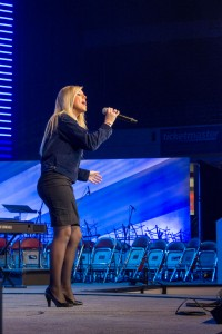 2013 National FFA Talent winner Bailey Wesberry performs on stage at the 86th National FFA Convention & Expo.