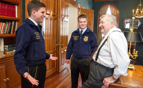 To kick off 2014 National FFA Week, Kentucky businessman Don Ball shares details about a new $500,000 endowment that he and wife Mira recently established for the National FFA Organization with National FFA officers Mitch Baker of Tennessee (left) and Steven Brockshus of Iowa at Ball's home in Lexington, Ky.