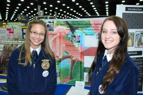 Celine Patrick and Ashlee Tarro of the Sumner FFA Chapter in Washington were honored Tuesday at the White House.